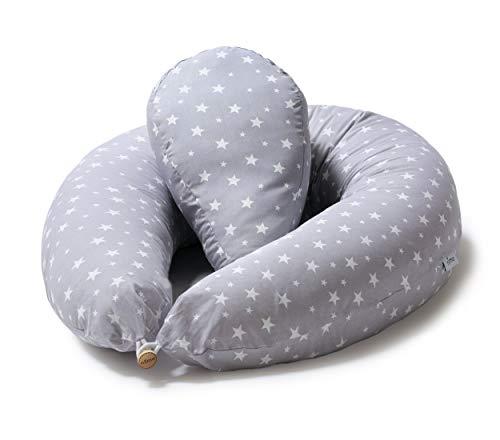 Niimo Stillkissen Seitenschläferkissen Schwangerschaftskissen + Klein Kissen zum Schlafen Lagerungskissen mit Bezug aus 100% Baumwolle, Grau mit Weißen Sterne für Mutter und Baby