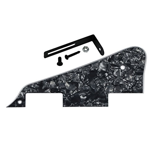 IKN Standard LP Guitar Pickguard Scratch Plate con soporte negro para Gibson Style o Epiphone Style LP Style Electric Guitar, 4-Ply Black Pearl