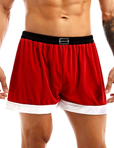 iiniim Christmas Holiday Mens Boxer Shorts Flannel Christmas Santa Claus Boxers Red X-Large