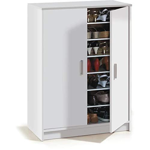 PEGANE Armoire à Chaussures avec 2 Portes Coloris Blanc - H107 x L70 x P35 cm