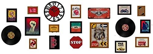 Combinación de Pared con Marco de Fotos Retro, Pintura de Fondo Creativa Decorativa de Estilo Industrial con Reloj Real