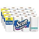 Scott 1000 Trusted Clean Toilet Paper, 32 Rolls (4 Packs of 8), 1,000 Sheets Per Roll, Septic-Safe, Bath Tissue Made Sustainably