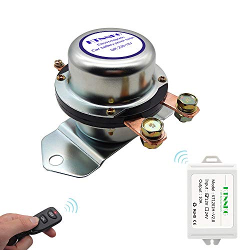 KTNNKG Remote Battery Disconnect Switch Auto On Off Kill Switch for Car - DC12V, 180A,Silver Contact-Electromagnetic Solenoid Valve Terminal