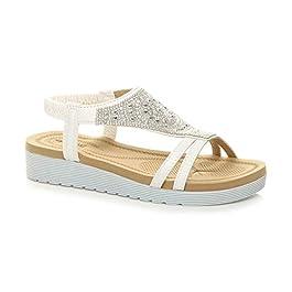Ajvani Womens Ladies Low Wedge Heel Flatform Diamante t-bar Slingback Sandals Size
