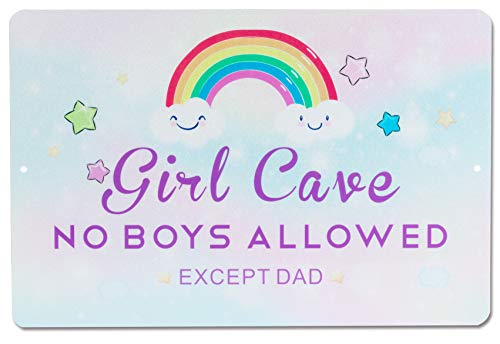 HOMANGA Funny Girl Cave Metal Tin Sign, Decorative Wall Decor for Girls Room, Girl Cave No Boys Allowed Bedroom Door Sign, Perfect Gift for Daughter 12x8 Inch Rainbow