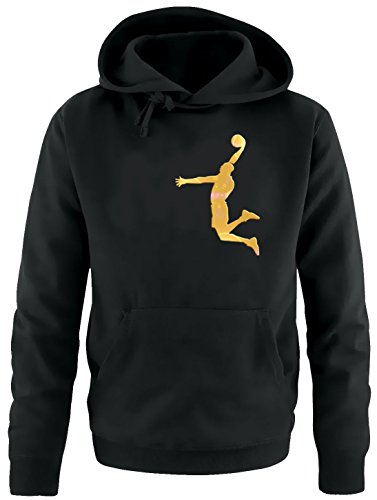 Coole-Fun-T-Shirts Dunk Basketball Slam Dunkin Kinder Sweatshirt mit Kapuze Hoodie schwarz-Gold, Gr.164cm
