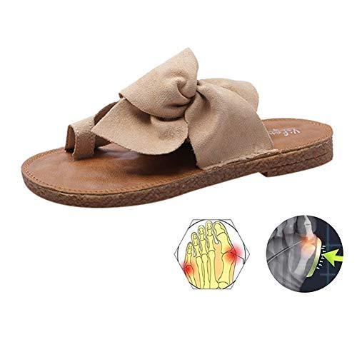 LOVEXIN Sandalias de Mujer con Lazo para Mujer Cómodas Zapatillas de Verano Deslizamiento Zapatos de Caminar Casuales Zapatos de Viaje Caucho,Marrón,39