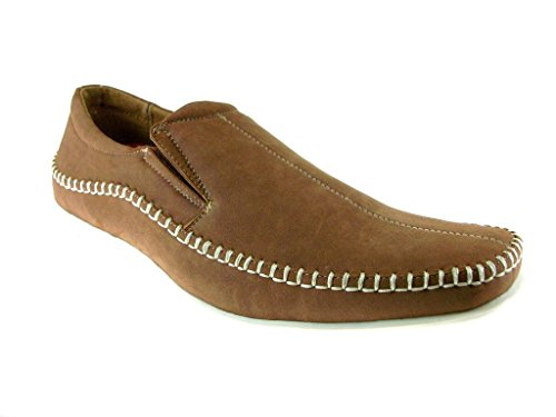 Delli Aldo Men's 30109-Brown Stitched Moccasins Loafers, Brown, 7.5