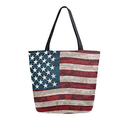 RURUTONG Bolsa de lona de la bandera americana a granel para comestibles, bolsa de playa de hombro grande, reutilizable, bolso multiusos resistente, compras al aire libre 2012023