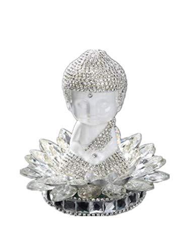 YONGYAO Diamond Lotus Cristal Décoration Voiture Déco Céramique Bouddha Décoration Intérieure-Argent