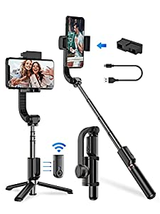 Apexel Bluetooth Selfie Stick, Handheld Extendable Phone Tripod with Single Axis Gimbal Anti-Shaking Stabilizer for iPhone 12/11 Pro/XS Max/XS/XR/X/8/7/6, Samsung Galaxy/Note, Google Pixel, Oneplus