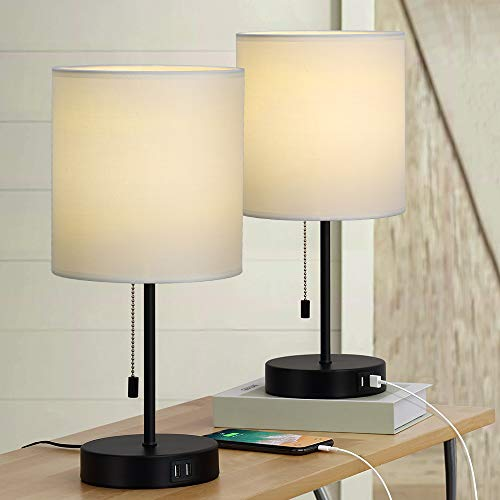 Table Lamps Set of 2, Bedside Lamps with Dual USB Quick Charging Ports, Desk Lamps with Metal Base White Fabric Lamp Shade for Bedroom Living Room Study Room Office Dressing Room
