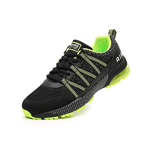Zapatillas Hombres Mujer Deporte Running Air Zapatos para Correr Gimnasio Sneakers Verano Comodos Deportivas Bambas Ligero Padel Transpirables Moda Casual 3027green39