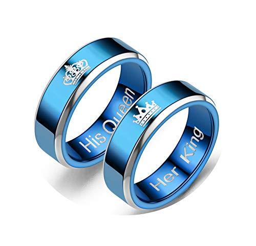 Epinki Edelstahl Ringe 2PCS Ringe Krone Graviert Her King&His Queen Blau Ringe Trauringe Damen Ringe - Damen Gr.57 (18.1) & Herren Gr.52 (16.6)