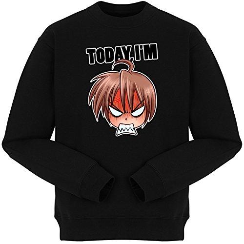 Okiwoki Pull Noir Parodie Today I am - Manga Style - Humeur - Today I am trop vénère (Sweatshirt de qualité Premium de Taille L - imprimé en France)