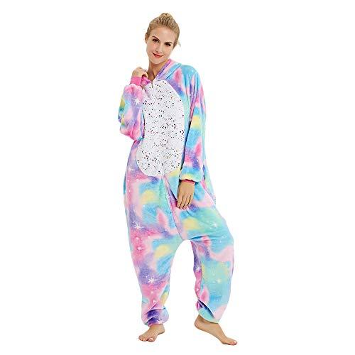 Rainbow Unicorn Schlafanzug Unisex Erwachsene Einhorn Pyjama Tier Flanell Cosplay Jumpsuits Kostüme Party Overalls Halloween Karneval Neuheit Schlafanzüge (Reißverschluss-Stern, M)