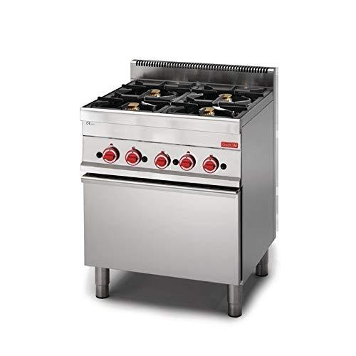 Piano de cuisson à gaz 4 brûleurs 17.2 kw - four à gaz 5 kw - Gastro M -