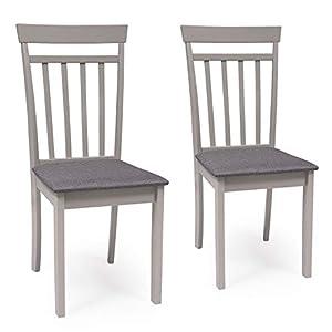 Pack de 2 sillas de Comedor o Cocina Kansas Estructura Madera lacada Color Gris Claro Asiento tapizado Color Gris