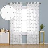 Deconovo Visillos Blancos Cortina Translucida Salón Infantiles para Ventanas Dormitorio para Habitacion Lino 140x280cm Gris