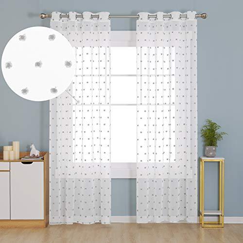 Deconovo Cortinas Traslúsidas de Visillos Salón para Ventana Dormitorio Moderno Infantiles Decorativos Suaves Resistentes 140x260cm Gris