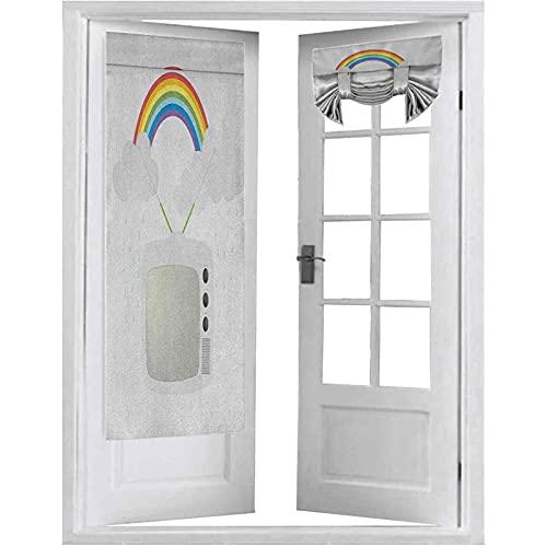 Cortinas opacas para puertas francesas, televisión vieja con nubes en antenas y tecnología de entretenimiento, 1 panel de 66 x 172 cm, cortina para ventana de puerta, multicolor