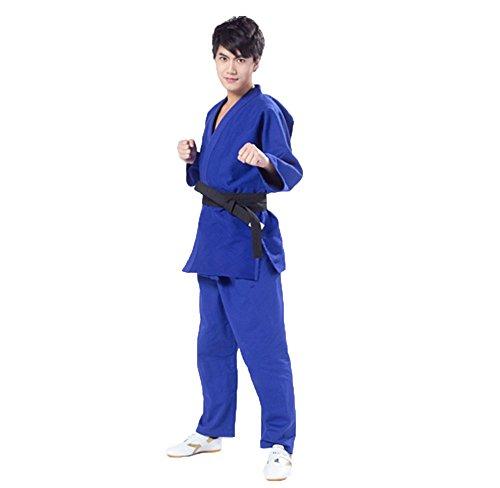 ZOOBOO Judo uniforme Gi Suit–Judogi Jiu Jitsu artes marciales Kung Fu Karate Taekwondo jiujitsu Bando Aikido Outfit Kit de ropa pantalones chaqueta para hombres mujeres niños–algodón–libre cinturón, azul