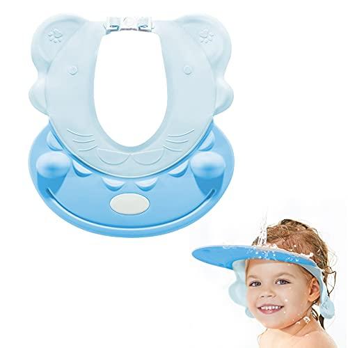 Shampoo Schutz Kinder Duschhaube Kinder Badeschutz Weicher Kappen Ohne Tränen Hippo Styles mit Augenschutz Ohrenschutz (Kopfgröße 38cm-60cm) - SVTEOKO… (Blau)