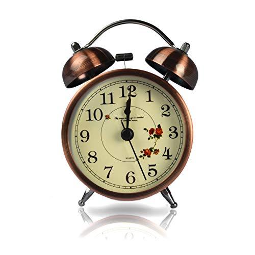 Coolzon Relojes Despertadores Analogico, Doble Campanas Relojes Despertadores de Mesita Despertadores Vintage Silencioso sin Tictac Despertador Infantil con Luz de Noche, 3' Patrón de Flores
