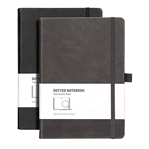 RETTACY Dotted Bullet Grid Journal 2 Pack - Dot Grid Hard Cover Notebook with 320 Pages,120gsm Thick Paper,8 Perforated Sheets,Smooth PU Leather,Inner Pocket,''5.75 × 8.38''