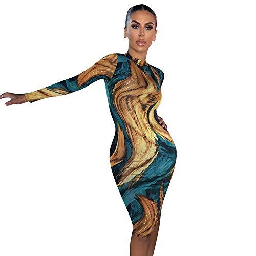 Basbsa Señoras Vestido Atractivo de la Playa de Liga del Vestido Casual de Las señoras de la Falda Vestido de Noche Atractivo, Vestido de Manga Larga Imprimir Bodycon Partido de Las Mujeres del otoño