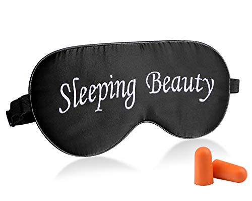 Fitglam Natural Silk Sleep Mask, Best Sleeping Mask Eye Mask Eye Cover for Travel, Nap, Meditation, Blindfold with Adjustable Strap for Men, Women (Sleeping Beauty)