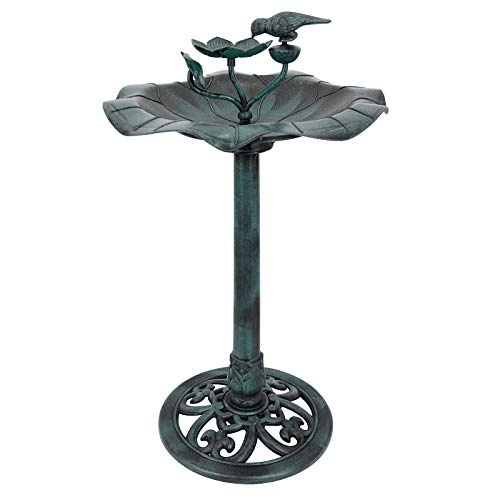 Kawuneeche 28 Inch Bird Bath for Outdoor Lightweight Antique Lotus with Bird Decoration Birdbath Yard Statue Bird Bath Green