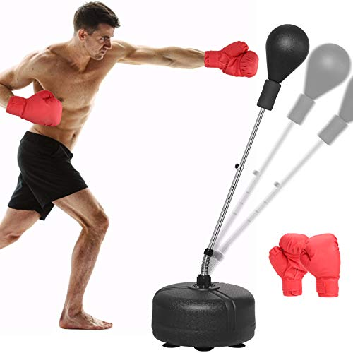 """Punching Bag with Stand for Adults Kids Reflex Speed Bag with Solid Boxing Ball Height Adjustable 53""""-60"""" Free Standing Boxing Set for Home Gym Workout Fitness, Boxing Gloves Included"""