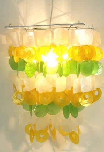 Guru-Shop Deckenlampe/Deckenleuchte Seventy, Muschelleuchte aus Hunderten Capiz, Perlmutt-Plättchen, Weiß-gelb-grün, Muschelscheiben, Farbe: Weiß-gelb-grün, 45x30x20 cm, Oceanlights Muschelleuchten