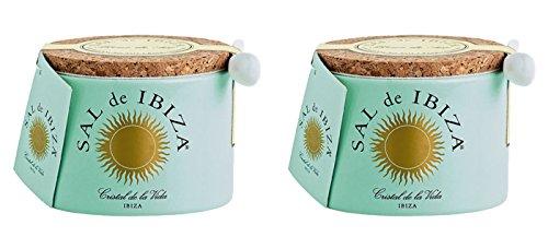 Sal de Ibiza - Fleur de Sel Ibiza - Ceramic container with small porcelain spoon - 2 x 150 gr
