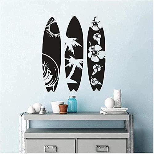 Etiqueta de la pared Etiqueta de la pared de vinilo desmontable Tabla de surf creativa Estilo de onda Etiqueta de la tabla de surf de la ventana del coche 57X69Cm