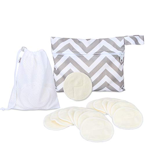 Luxja Bamboo Makeup Remover Pads (Pack of 14) with 2 Handy Bags, Washable and Reusable Facial Rounds (Fit for Sensitive Skin)