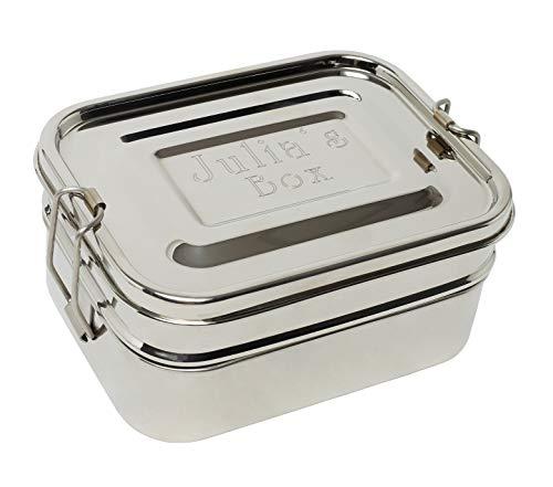 DeinGut XXL Edelstahl Lunchbox mit Wunsch-Diamant-Gravur I Große Brotdose I 3-teilig I 1700 ml I Bento Box I Geschenk Edelstahldose I Schule I Arbeit I Wandern I Reisen I Outdoor