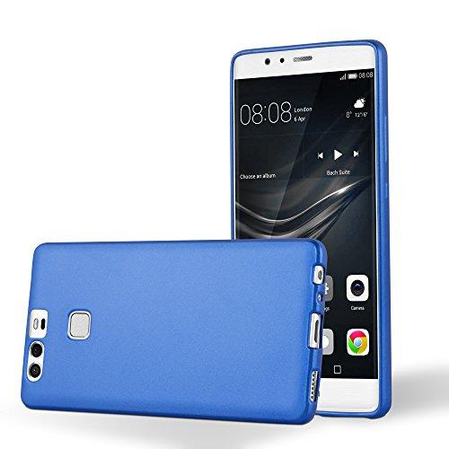Cadorabo Coque pour Huawei P9 en Metallic Bleu - Housse Protection Souple en Silicone TPU avec Anti-Choc et Anti-Rayures - Ultra Slim Fin Gel Case Cover Bumper