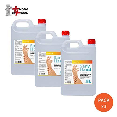 Pack x 3 Gel Higienizante de manos Sany Hand 5L Anti-Bacteriano · Hidrogel Desinfectante manos sin aclarado y con secado instantáneo · Ideal para el uso en Dispensadores · Formato 5L (6,95 Eur /Litro)