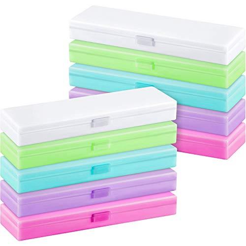 Leinuosen 8 Pieces Translucent Pen Pencil Box, Bright Color School Pencils Stationery Storage Box Pen Holder Box Organizer, School Supplies Pencil Box for Students