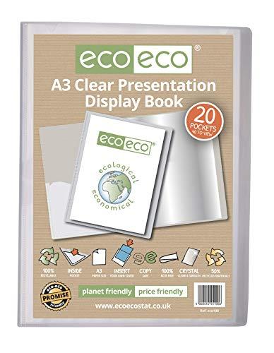 eco-eco Eco100 Porte-vues transparent 20 pochettes Format A3 50 % recyclé