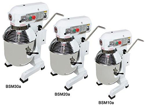 Beeketal 'BSM20a' Profi Teigknetmaschine mit Planetenrührwerk 20 Liter Kapazität (3 Stufen 110, 170, 420 U/min), Knetmaschine inkl. Knethaken, Schneebesen und Flachrührer - weiß lackiert