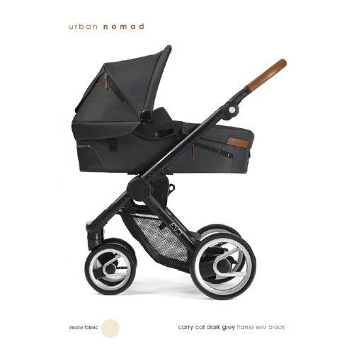 Mutsy EVO Urban Dark grey Kinderwagen Komplett: Chassis schwarz, Babywanne + Sitzeinheit dark grey, Fußsack, Wickeltasche, Sonnenschirm, Regenschutz, Adapter für MaxiCosi (+ Luftreifen-Set optional)