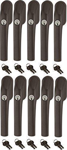 Abus FG300 abschließbarer Fenstergriff, braun, im Set 10 Stück alle gleichschließend mit insgesamt 20 Schlüssel