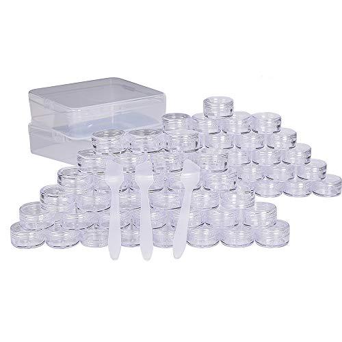 64 Stück transparente Döschen, 5ml Cremedose Leerdose klarer Tiegel Mini Dosen - für Nagel Pulver,Lidschatten,Cremes, Lippenstift, Kosmetikprobe, Ohrringen