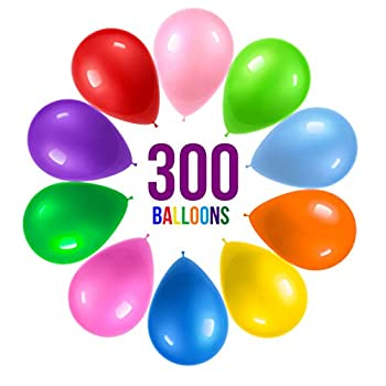 Prextex 300 Party Balloons 12 Inch 10 Assorted Rainbow Colors - Bulk Pack of Strong Latex Balloons for Party Decorations Birthday Parties Supplies or Arch Decor - Helium Quality