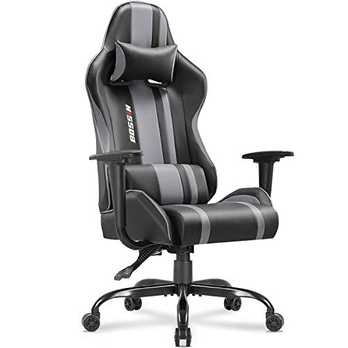 Gaming Chair Racing Style High-Back Computer Chair Swivel Ergonomic Executive Office Leather Chair Video Gaming Chair(Gray) chair gaming gray
