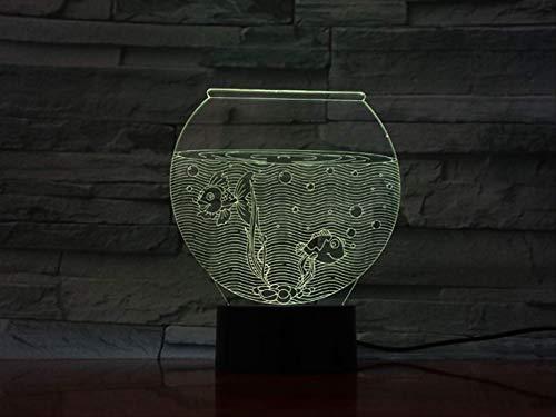 Preisvergleich Produktbild zhkn Kreative Bluetooth Lautsprecher Basis Nachtlicht Jgoldfish 3D Led 7 Farben Nachtlicht USB Touch Control Tischlampe Atmosphäre Lampe