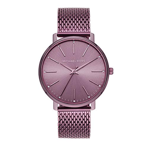 Michael Kors Women's Quartz Watch with Stainless Steel Strap, Purple, 18 (Model: MK4524)